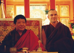 Akong Rinpoche (left) and Tashi Mannox as monk