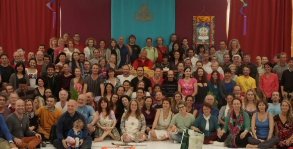 Chögyal Namkhai Norbu with the instructors of Santi Maha Sangha, Yantra Yoga and Vajra Dance at the Dagther Meeting Dzamling Gar, Tenerife