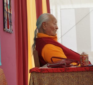 Chögyal Namkhai Norbu observing students at Dagther