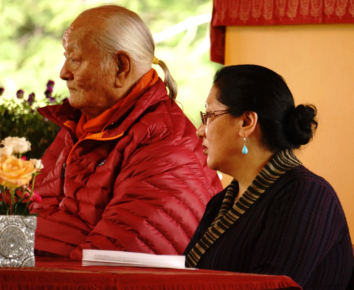 Chogyal Namkhai Norbu and Dr Phuntsog Wangmo at Friday's officials gathering on  July 11, 2014