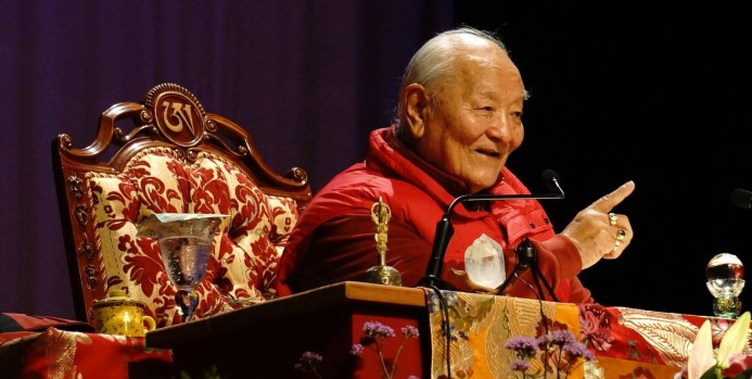 Rinpoche teaching the Four Dharmas of Longchenpa at the Mohawk School Sunday July 20, 2014 Photo courtesy of Paula Barry