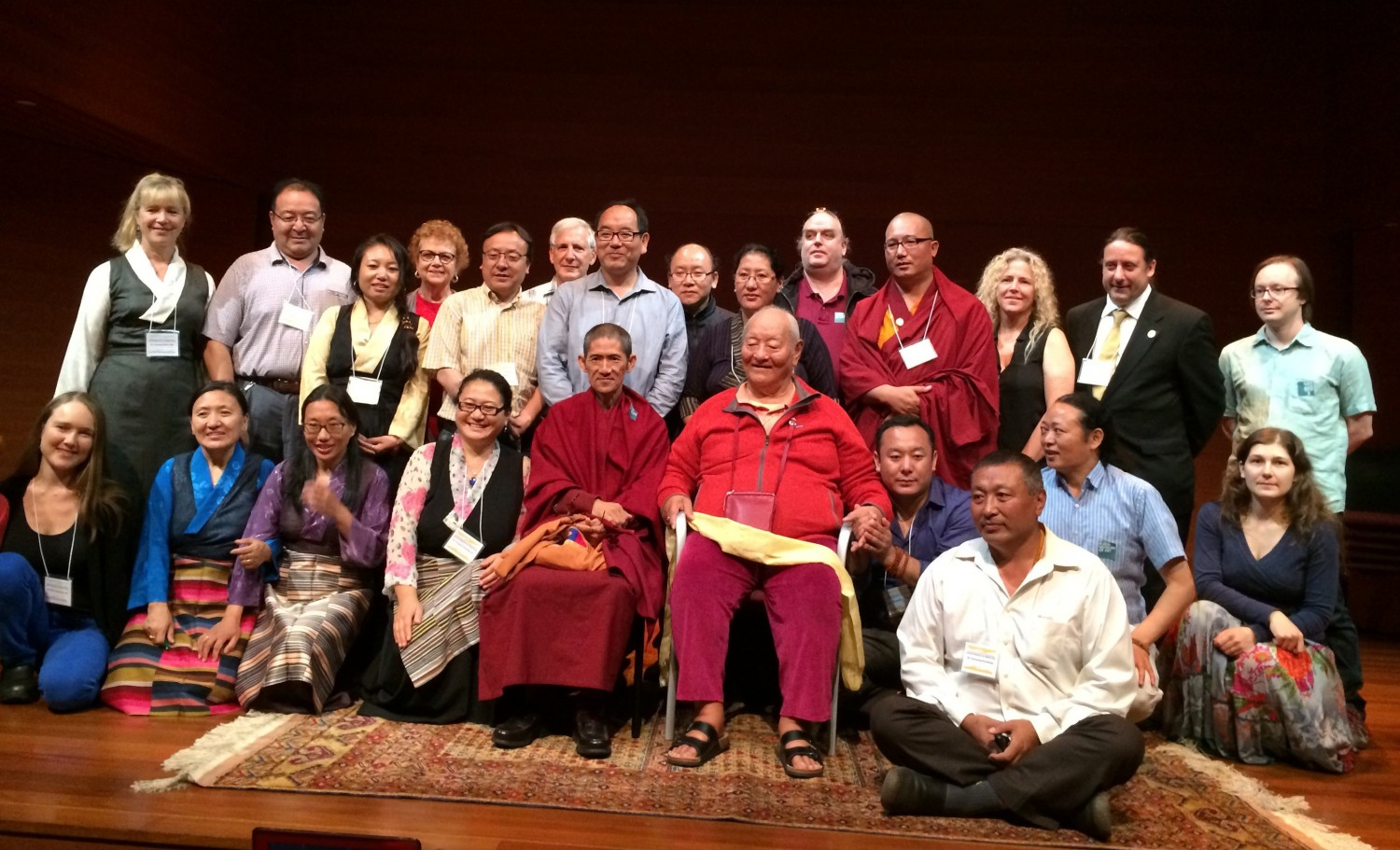 Entire group together with Chögyal Namkhai Norbu of Tibetan physician presenters and attendees, graduates and current Tibetan Medical students with Shang Shung Institute, ATMA and Shang Shung Institute Board members, and friend the Venerable Lama Khempo Pema (at Rinpoche's right)