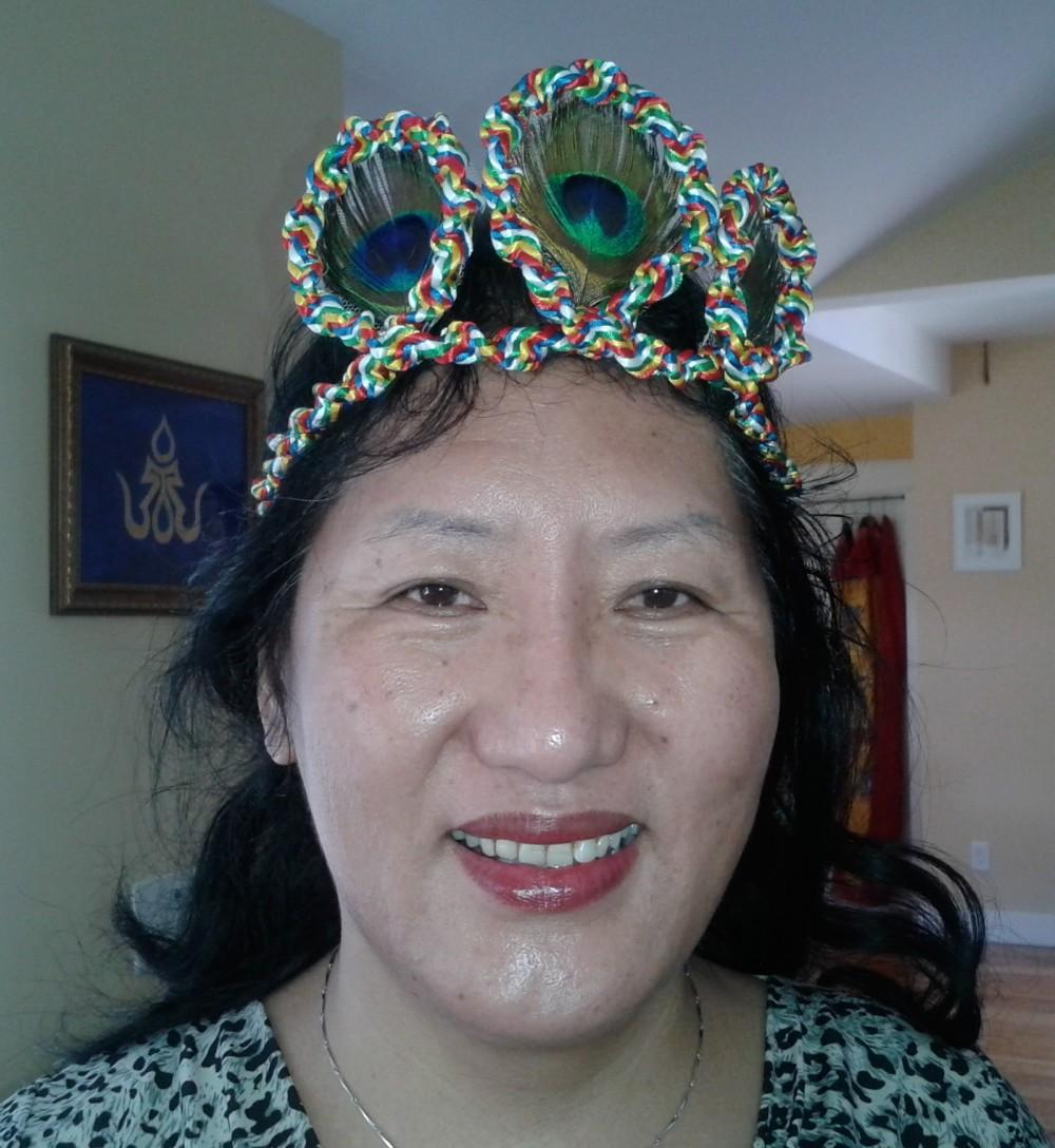 Head dress for Vajra Dance as modeled by Dr Phuntsog Wangmo