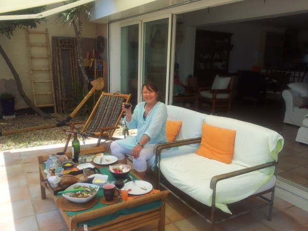 Cathy on her terrace