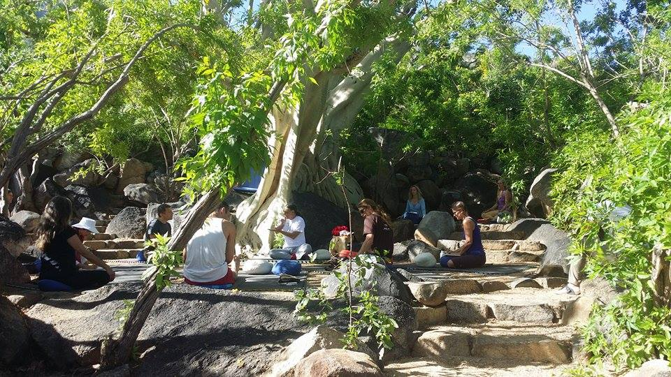 Fabio teaching breathing under the tree at Tsegyalgar West, Baja