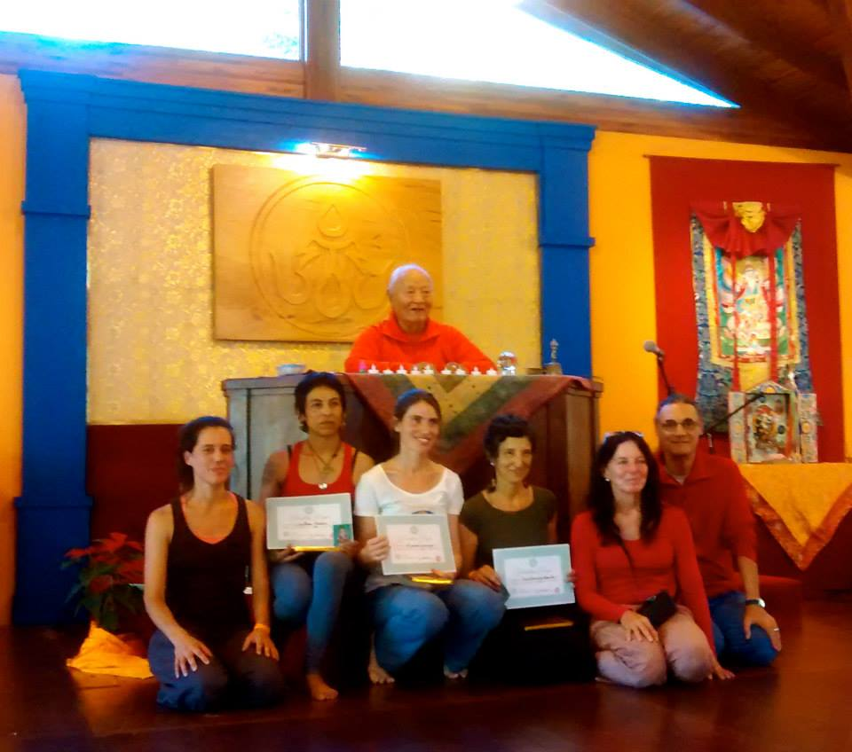 Newly Authorized First Level Yantra Yoga Instructors, Tashigar South, Argentina, on November 24, 2014. 2nd from left, Carolina Muñoz (Chile), 3rd from left, Alejandra Krasnogor (Argentina) and 4th from left, María Fernanda Andrada (Bariloche, Argentina).