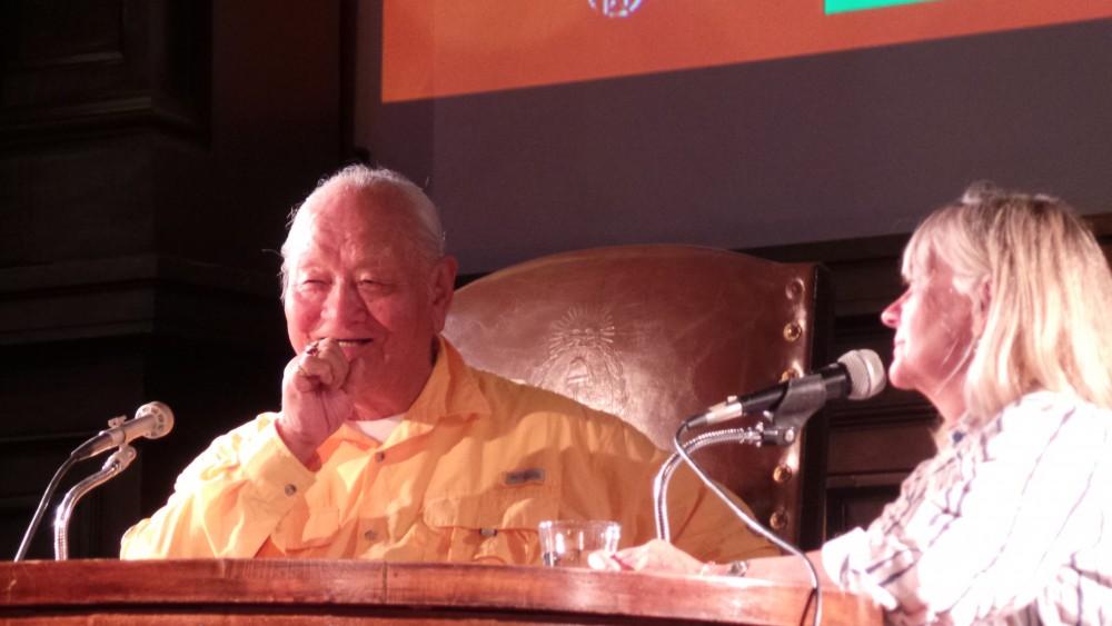 Chögyal Namkhai Norbu at public talk in Cordoba, Argentina