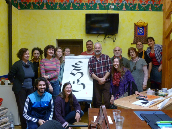 Group photo at the end of the 'ume' calligraphy course at Merigar West