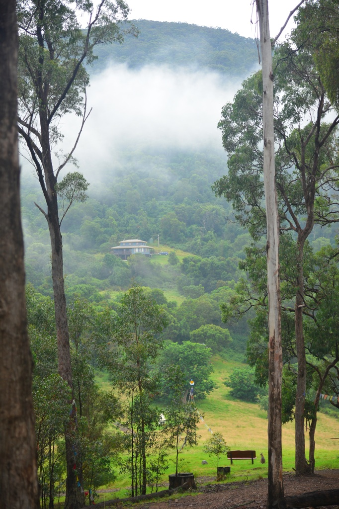 Rinpoche's house through the mist