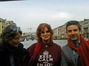 Nina on the vaporetto canal bus in Venice