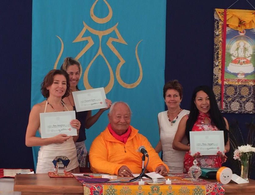New Vajra Dance Teachers authorized by Chögyal Namkhai Norbu at Dzamling Gar on April 28, 2015 Left to right: Anna Apraksina,  Rosemary Friend and Thuy Nguyen together with Rinpoche and Adriana Dal Borgo