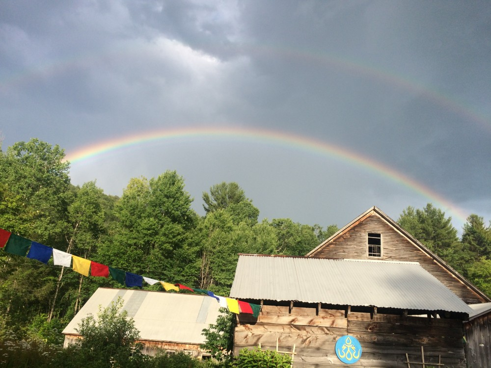 Rainbow in front of Rinpoche's house moments before his arrival at Lower Khandroling