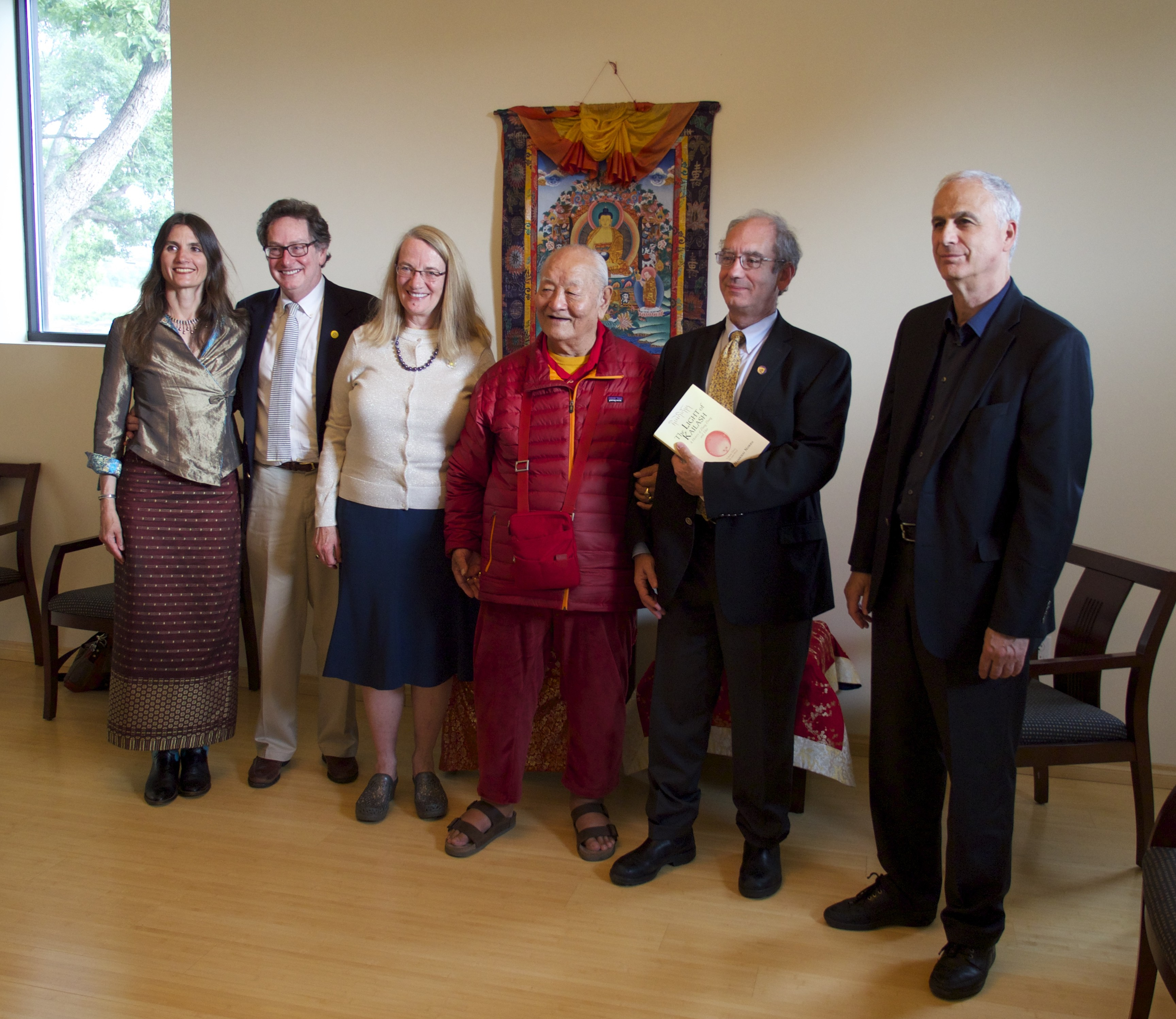 Rinpoche with Naropa officials at a pre public talk tea, from left to right:  Charlotte Rotterdam, John Weber, Judith Simmer-Brown, Chuck Lief, President of Naropa University and Tom Hast.