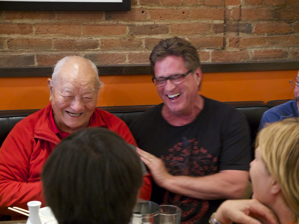 Rinpoche and Michael Hass from Los Angeles enjoying the Japanese lunch together