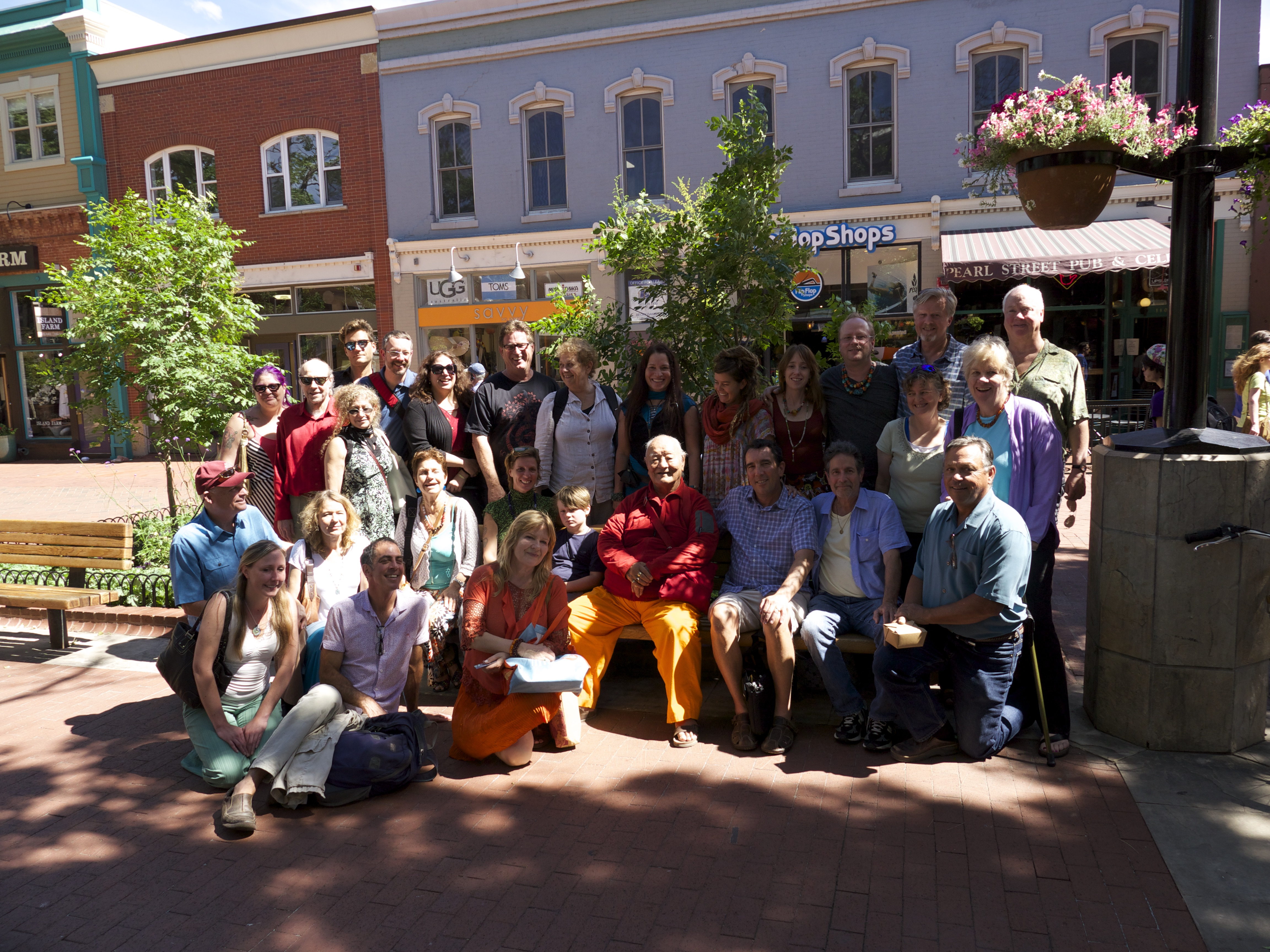 Group of participants and Chögyal Namkhai Norbu on Pearl St in downtown Boulder after the Japanese lunch