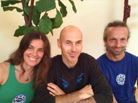 The three Yantra Yoga instructors. ( Mónika Lakatos, Zsolt Somogyvári, Zoltán Cser)
