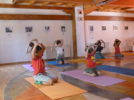 Children practising Kumar Kumari yantra yoga during the Yoga Holiday
