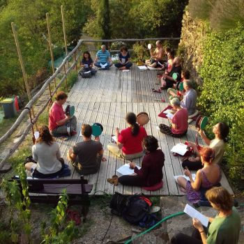 Practitioners practising chod at Dejamling