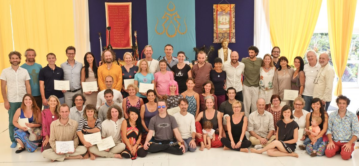 Yantra Yoga instructors with their diplomas