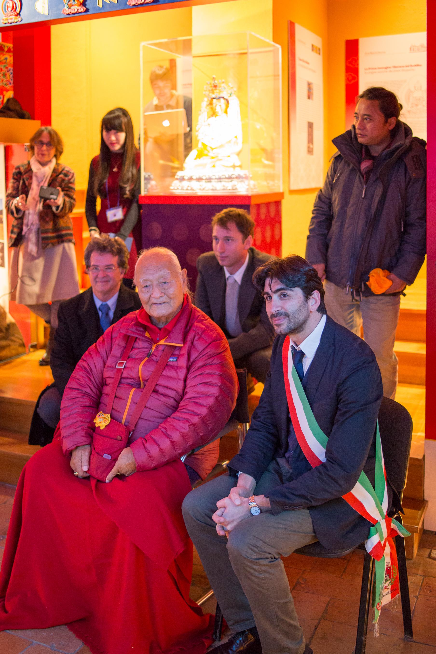 l-r. Jacobella Gaetani museum coordinator, Alex Siedlecki, director, Prof. Namkhai, Jamyang Oliphant, the Mayor of Arcidosso, Migmar Tsering