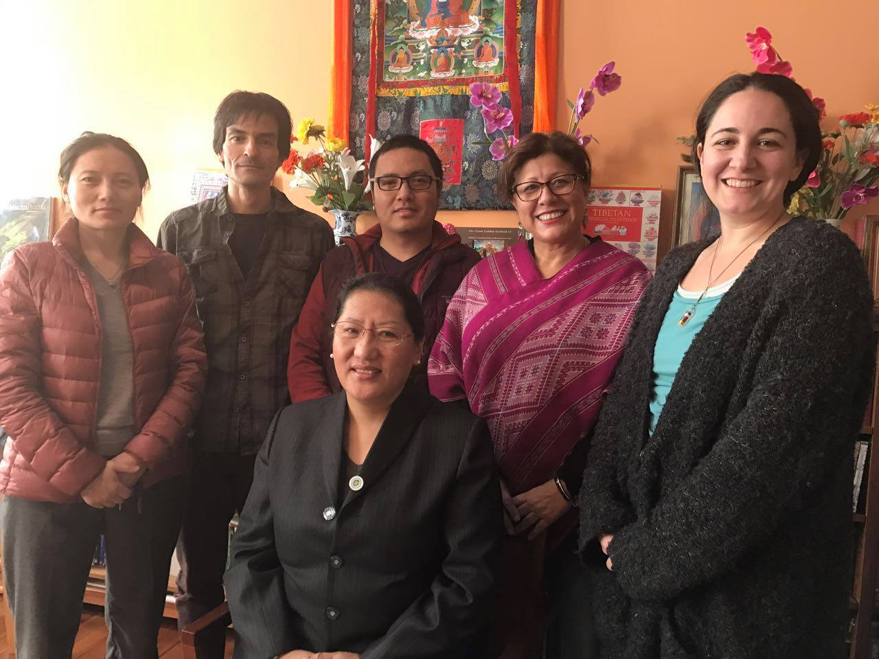 Khewang Ping Cuowangmu (Phuntsog Wangmo) with some of her Tibetan Medicine students in the spring of 2017 at Shang Shung Institute in Conway MA.