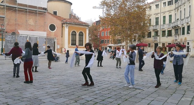 Joyful Dances in San Giacomo Dall'Orio Square in Venice, Italy