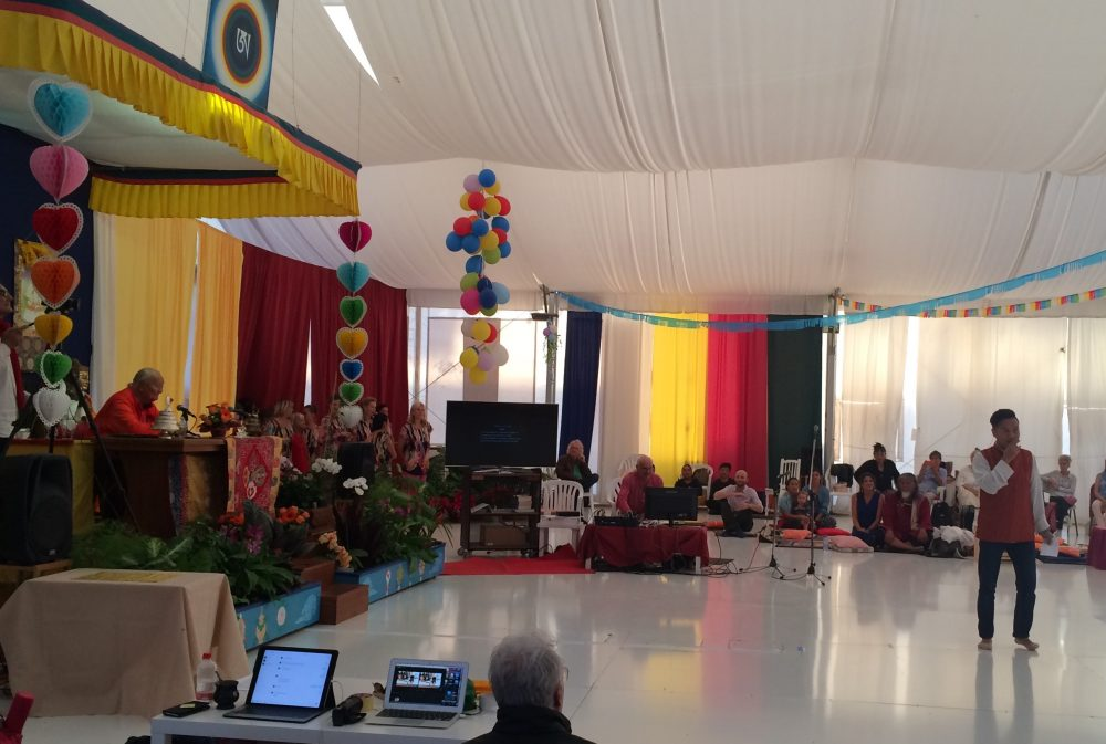 Lobsang Delek performing for Rinpoche
