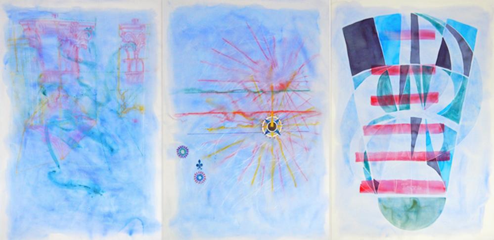 """""""Les bleuités du cimetière marin"""" 2016, (triptych) watercolor; pencil on paper, 66"""" x 148"""" (167 x 345 cm)."""